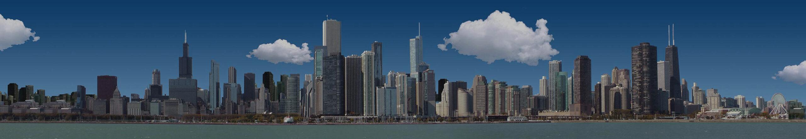 Bastelvorlage Chicago - Architektur basteln - Panorama Chicago - Skyline Chicago - Wolkenkratzer Chicago - Hochhäuser Chicago, Illinois, USA
