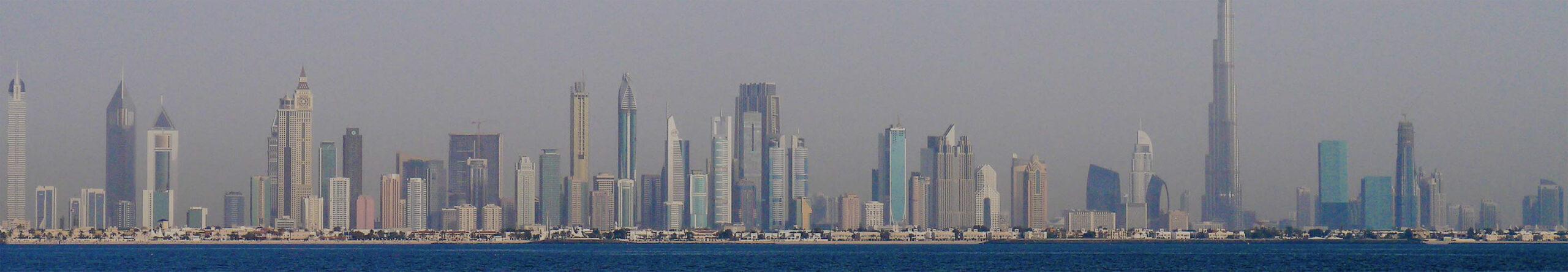 Bastelvorlage Dubai, Vereinigte Arabische Emirate - Dubai Panorama - Skyline Dubai - Hochhäuser Dubai - Wolkenkratzer - Architektur basteln