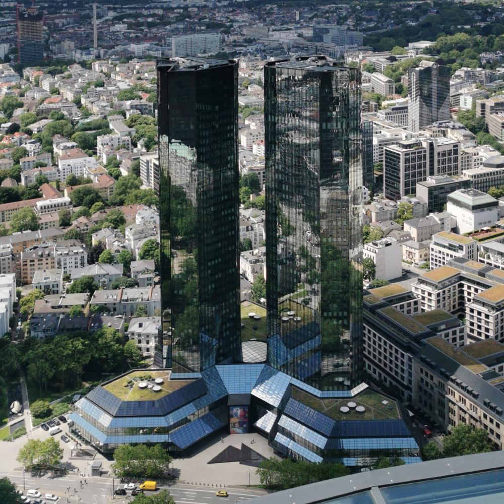 Deutsche Bank Zwillingstürme Bastelvorlage Frankfurt